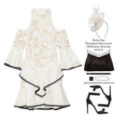 """Melbourne Spring Carnival 🐎 / Rebecca Vallance The Society ruffled guipure lace mini dress"" by palmtreesandpompoms ❤ liked on Polyvore featuring Rebecca Vallance, Dorothy Perkins, J. Mendel, NARS Cosmetics, Maison Margiela and Alaïa"