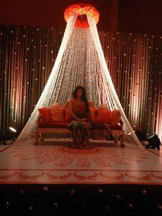 For your Maiyaan or Churda ceremony, have a nice backdrop and a nice seat to sit on. A sofa is better as people can sit next to you to get photos. Put some decorative pillows with bling as well!