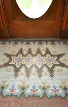 1904 Classical Revival - Maryville, MO (George F. Barber) - Old House Dreams Hex Tile, Penny Tile, Hexagon Tiles, Hexagon Quilt, Mosaic Tiles, Mosaic Floors, Tiling, Tiled Floors, Doors And Floors