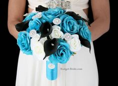 Turquoise and black theme wedding flowers.  Complete 5 piece wedding package for only $300