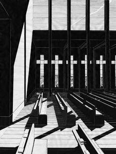 Denis Andernach - archiektur zeichnung tusche kirche