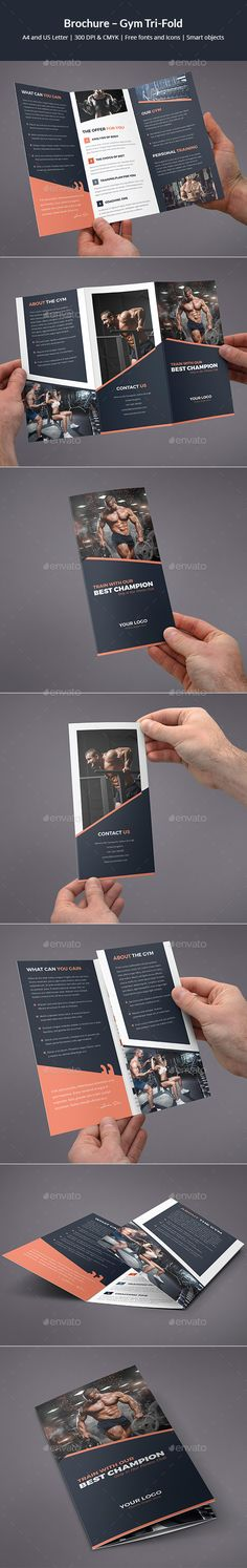 #Brochure – Gym Tri-Fold - Corporate #Brochures Download here: https://graphicriver.net/item/brochure-gym-trifold/19587094?ref=alena994