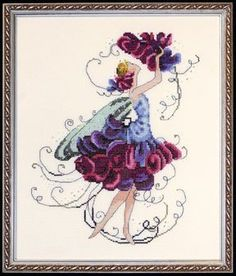 Sweet Pea Pixie Couture Collection Cross Stitch Pattern Embroidery Patterns by Nora Corbett Cross Stitch Fairy, Cross Stitch Angels, Cross Stitch Kits, Cross Stitch Charts, Cross Stitch Designs, Cross Stitch Patterns, Cross Stitching, Cross Stitch Embroidery, Embroidery Patterns