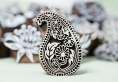 Paisley printing block. I have a couple of these. They print brilliantly.