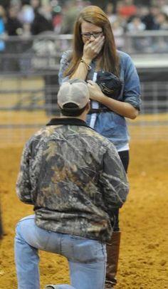 """Man proposes at Peanut Festival Calf Scramble"" beautiful southern proposal! so sweet!"