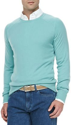 Westport Cashmere Crewneck Sweater, Water Green by Loro Piana. Add a fun blazer and you have the perfect Derby outfit Smart Casual Wardrobe, Men's Wardrobe, Wardrobe Ideas, Preppy Mens Fashion, Men's Fashion, Swag Style, My Style, Derby Outfits, Crewneck Sweater