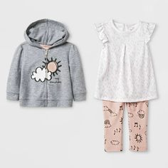 d4afcc183adfb Baby Girls' Tunic, Hoodie and Leggings Set - Cat & Jack™ Gray/White/Peach