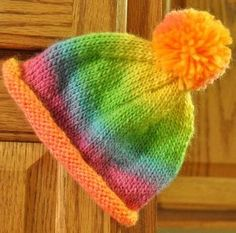 Knit Baby Hats Patterns Roll Brim : Free Knitting Pattern for Roll Brim Hat for Babies and Kids Free Knitting P...