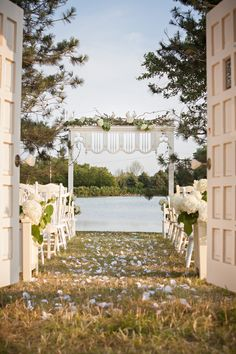 Farmington Lake is a private country estate outdoor wedding ceremony venue near Chicago Illinois. Swing open the so romantic vintage doors to reveal your naturally beautiful wedding aisle! Visit our website at www.farmingtonlake.com