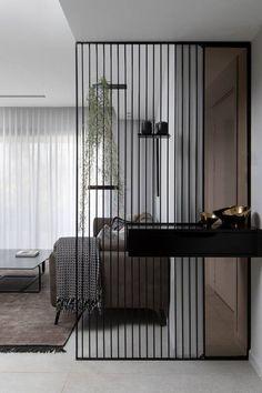 42 stunning modern partition design ideas for living room 8 Living Room Partition Design, Room Partition Designs, Partition Ideas, Divider Design, Foyer Design, Design Room, Chair Design, Living Room Designs, Living Room Decor