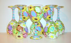 Easter Eggs and Daisies Hand Painted Wine Glasses Set of 8 - 20 oz. Red Wine Goblets White Daisy & Sunflowers Lavender Baby Blue Pink Yellow by SharonsCustomArtwork on Etsy