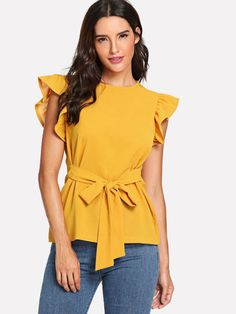 SheIn offers Ruffle Armhole Knot Front Top & more to fit your fashionable needs. Cute Athletic Outfits, African Blouses, Sleeveless Cardigan, African Print Dresses, Indian Suits, Blouse Styles, Stylish Outfits, Beautiful Outfits, Chiffon Tops