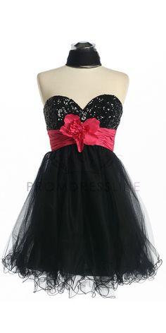 Black/H.Pink Strapless Sweetheart Bodice Short Tulle Skirt Prom Dress S125BH $99.50 on www.PromDressLine.Com