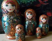 Author's nesting dolls matryoshka with painting in russian style khokhloma handmade