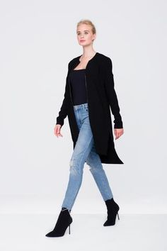 The perfect addition to any wardrobe. This versatile jacket features a hi-low hem, full length... Casual Looks, Night Out, Ready To Wear, Normcore, Jeans, Sleeves, How To Wear, Jackets, Collection