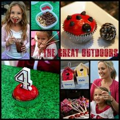 "Party ideas: painting birdhouses, scavenger hunt, glow bracelets, decorating cupcakes like ladybugs, ""dirt"" pudding!"