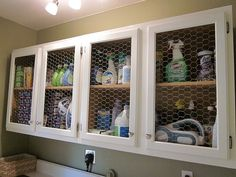 This would be great for our laundry room! .... chicken wire too cute---love this idea! and i think itd work anywhere else, maybe a bathroom for towels? :)