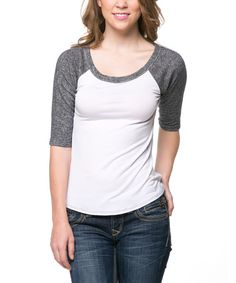 Look at this Magic Fit White & Gray Raglan Scoop Neck Tee on #zulily today!