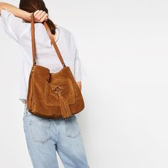 LEATHER BUCKET BAG WITH TASSELS-Large handbags-BAGS-WOMAN | ZARA United States