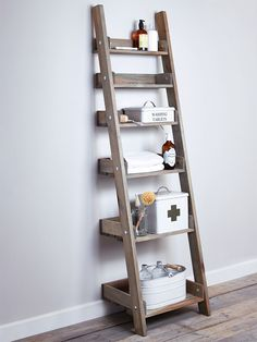 NEW Rustic Wooden Ladder Shelf H 176 x W 48 x D 38 cm at bottom, 12 cm at top. Overall Size: H 180 x W 48 x D 36cm Shelf width and depth from top to bottom: W 39.5 x D 10.5cm W 40 x D 14.5cm W 40 x Dia 18.5cm W 40 x D 22.5cm W 40 x D 26.5cm W 40 x D 30.5cm