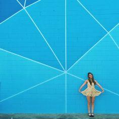 Giant Geometric wall.  Atlanta Wall Crawl: The Best Walls in Atlanta – Blue Geometric Wall | Behind bartaco/The Merchant 969 Marietta St NW, Atlanta, GA 30318