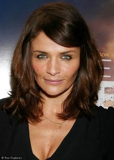 Mid Length Layered Hair on Helena Christensen...like this cut minus the bangs