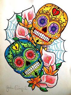 Summer skulls by artbyYvelise Mexican Skulls, Mexican Folk Art, Candy Skulls, Sugar Skulls, Sugar Skull Artwork, Skull Tattoo Flowers, Skull Wallpaper, Day Of The Dead Skull, Sugar Skull Tattoos