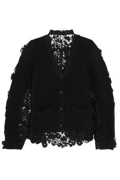 Sacai | Flower Chemical wool and cotton-lace cardigan | NET-A-PORTER.COM