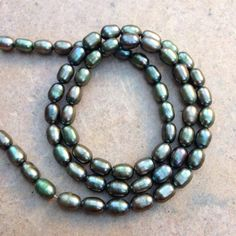 Green Pearl Beads, olive green pearl beads, oval, freshwater pearls, full 16 inch strand, 6mm by marketplacebeads on Etsy
