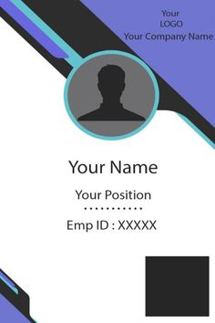 ID Card two Front Company Id, Company Names, Id Card Template, Card Templates, Identity Card Design, Employee Id Card, Certificate Format, Free Id, Buy Business Cards