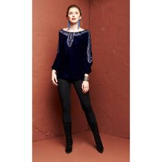 """This Roja Collection Fall 2016 Navajo Nations Peasant Top is a holiday essential!! This navy blue velvet top with beautiful blue and silver geometric embroidery as well as silver seed beads!! Featuring super flattering open, off the shoulder and a tie back for an amazing waistline!! This top is effortlessly beautiful! So easy to pair with a skirt or leggings with your favorite pair of boots! Bust on the extra small is approx. 32"""" so it is running a little bit small!"""