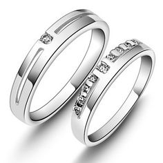 Zircon Sterling Silver Matching Couple Rings Valentines Gift