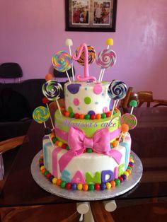 Lollipops birthday cake. Visit us  Facebook.com/marissa'scake or www.elmanjarperuano.com