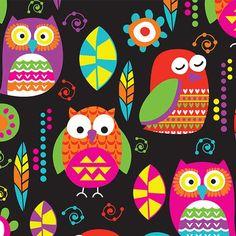 David Textiles - Black Vibrant Owls Plush