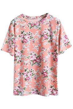 Pink Floral T-shirt. Description Pink T-shirt, featuring round neck, short sleeves styling, floral print, regular fit. Fabric 60%Cotton;40%Polyester. Washing Cool hand wash with similar colours, cool iron, dry flat, do not tumble dry, do not bleach. #Romwe