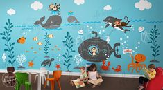 Underwater World wall decals , ocean, Submarine,seahorse,Turtle, dolphin, Whale Wall decal wall sticker -wall mural- dd1056 via Etsy