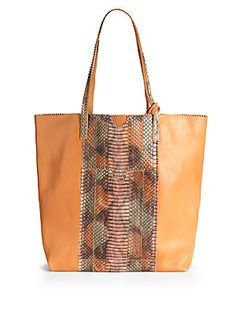 Carlos Falchi Lauren Leather & Python Shopping Tote