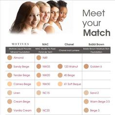 Motives foundations compared to Mac, Bobbi Brown and Chanel (prices may vary) www.motivescosmetics.com/justnae