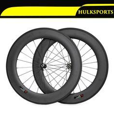 Full carbon fiber 88mm matte glossy road bike wheels 700C clincher wheelset for Shima HK-WH-88C-W23-A