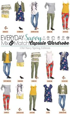 This new Old Navy Spring Capsule Wardrobe just might be my favorite! I am a sucker for the olive green, mustard and navy with the floral and stripes. This is an inexpensive way to try out the cold shoulder and off the shoulder trend as well. Capsule Wardrobe Mom, Capsule Outfits, Mix Match Outfits, Cute Outfits, Matching Outfits, Look Fashion, Fashion Outfits, Fall Fashion, Summer Minimalist