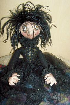 """""""Miss Grimelda"""" Soft Sculpture Doll by Sue Sizemore #halloween #witch"""