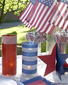 Add a bit of illumination to your holiday festivities by transforming different-size glass containers into patriotic votives. The process is simple, and all the required materials are easily available at local crafts stores.