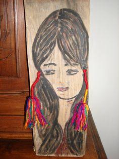 mexique:peint sur une planche trouvee sur la plage