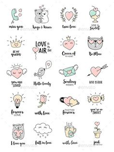 valentines day love quotes editable vector set with love doodles eps 10 all the design elements c ? Love Doodles, Little Doodles, Easy Doodles, Valentines Day Doodles, Valentines Day Love Quotes, Valentines Design, Valentine Nails, Mini Drawings, Love Drawings