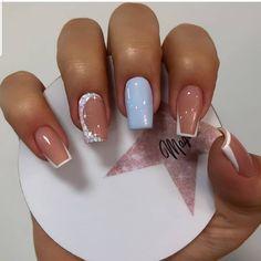 French Tip Nail Designs, Nail Art Designs Videos, French Tip Nails, Nail Manicure, Gel Nails, Arylic Nails, Butterfly Nail Art, Cute Toe Nails, Blue Acrylic Nails