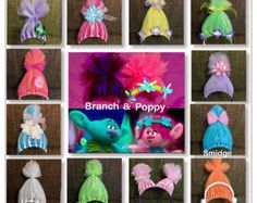 Custom headbands made from tulle and imagination!!  Included is a set of six childrens headbands!  1 Poppy 1 Branch 1 DJ Suki 1 Guy Diamond 1 Fuzzburt 1 Smidge I made these for my daughters 4th birthday and they were a hit!! Lots of giggles and happy screeching!!  I can do any characters, you can choose! Please write who you would like up to 6 characters in the notes section during checkout! If no note is left you will recieve what is pictured.  Depending on availability gems or colors can…