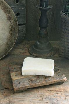 """Primitive Early Look Wooden Sink Side Soap Keep Drain Board w/Soap Chunk 4"""" Wide, 6"""" long"""