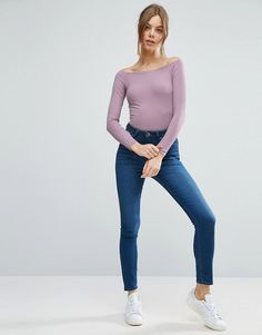 ASOS Lilac Top With Off Shoulder in Rib and jeans