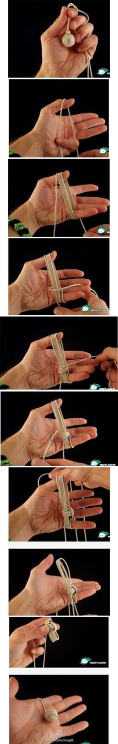How to make a tiny rope ball ornament - step by step. I want to do this with a much heavier rope, to create a nautical - themed doorstop.