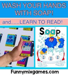 WASH YOUR HANDS WITH SOAP AND LEARN TO READ!   A Win-Win!    • Includes Short/Long Vowels! • 3-and-4 Letter Words! • Phonics Superheroes! • 5 Different Ways to Play!  The FUNNY MIX SUPERHERO PHONICS CARD GAME is available for only $9.95!  Start Reading Today! The Superhero Way! Teaching Phonics, Phonics Activities, Kindergarten Activities, Reading Games, Reading Skills, Reading Strategies, Phonics Cards, Long Vowels, Phonemic Awareness